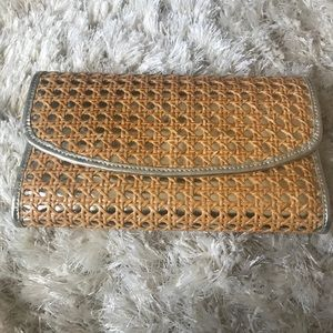 Vineyard Vines metallic and wicker clutch